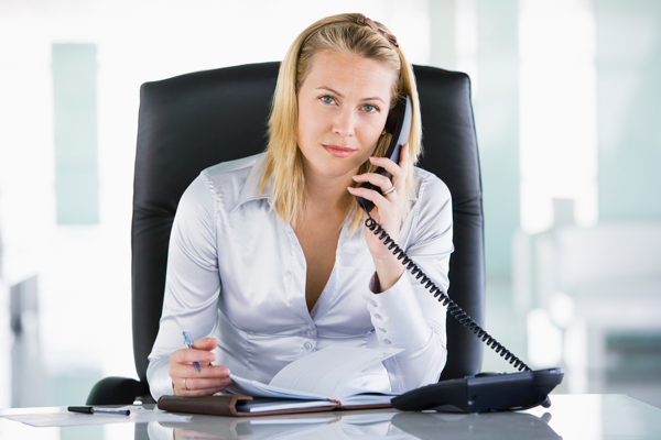 priority insurance call businesswoman